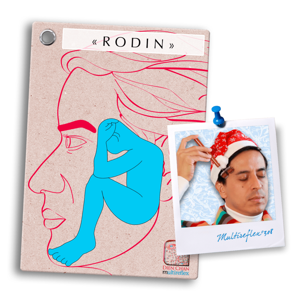 Schéma de réflexion du Dien Chan: Rodin et rouleau yin pour soin du visage